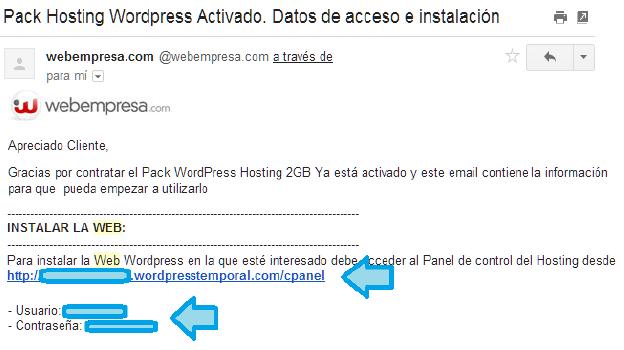 datos del hosting